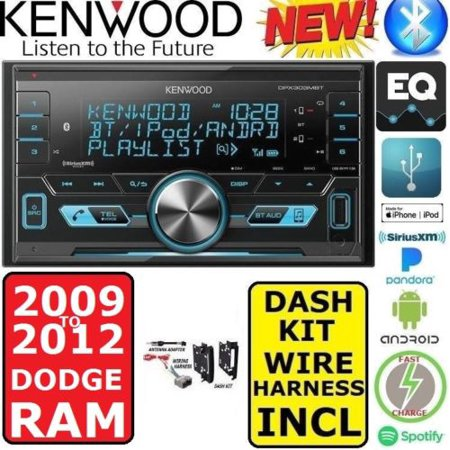 2009-2012 dodge ram kenwood am/fm usb/bluetooth car radio stereo pkg