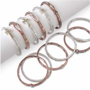 Bracelet-Inspirational Mixed Metal Stackable Stretch-Asst Styles (Pack Of 12)