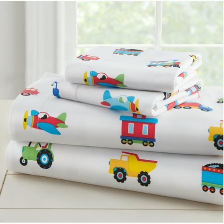 Wildkin Trains, Planes & Trucks Super Soft 100% Cotton Sheet Set - Toddler