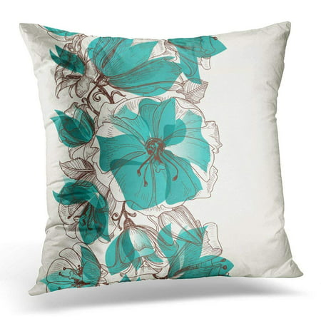 CMFUN Green Draw Flower Floral Teal Border Line Leaf Throw Pillow Case Pillow Cover Sofa Home Decor 16x16 Inches (Link Pillow)