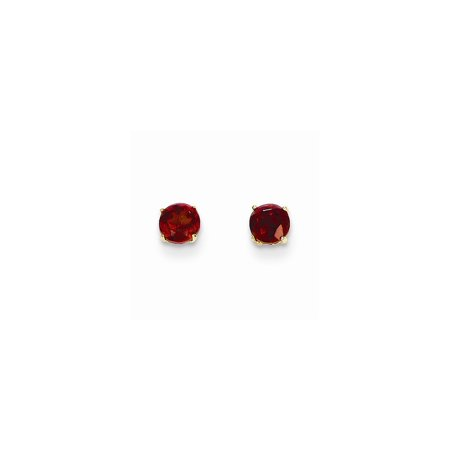 14k Yellow Gold Round Red Garnet 4mm Post Stud Earrings Gifts For Women For Her