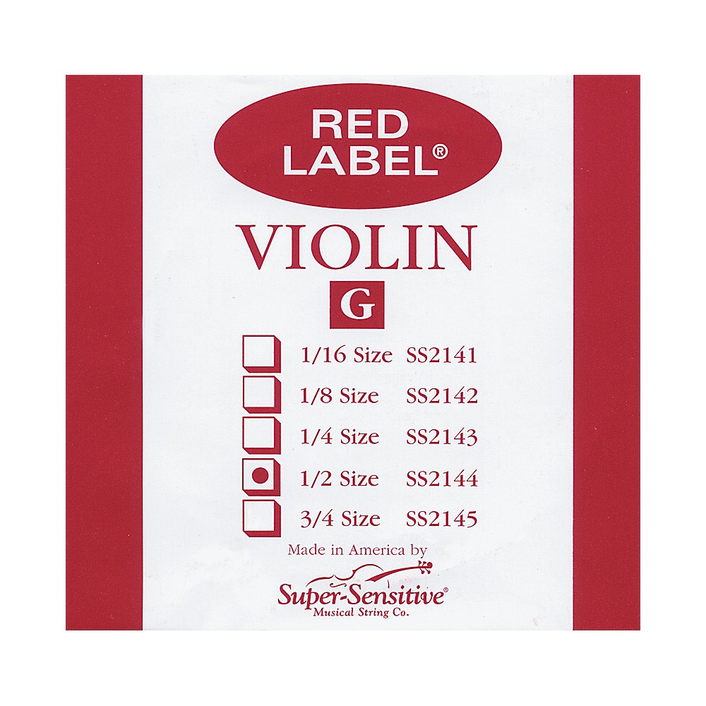Super Sensitive Red Label Violin G String  1/2