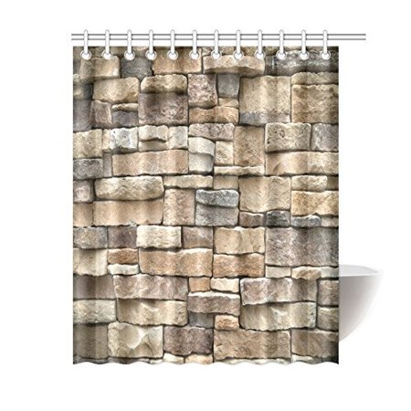 Ensemble Vikrell Shower Wall (MYPOP Rock Wall Shower Curtain, Colored Stone Surface Retro Village Style House Design Decorative Fabric Shower Curtain 60 X 72 Inches Long, Brown)