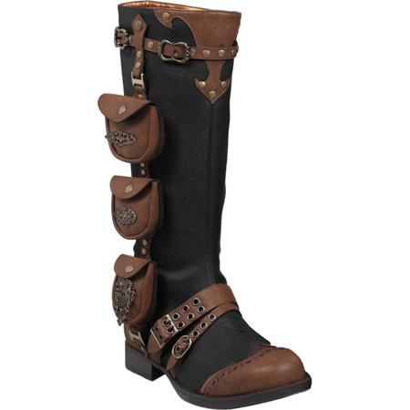 Womens 1 Inch Heels Black Knee High Boots Steampunk Brown Straps Costume Shoes](Steampunk Shoe Covers)
