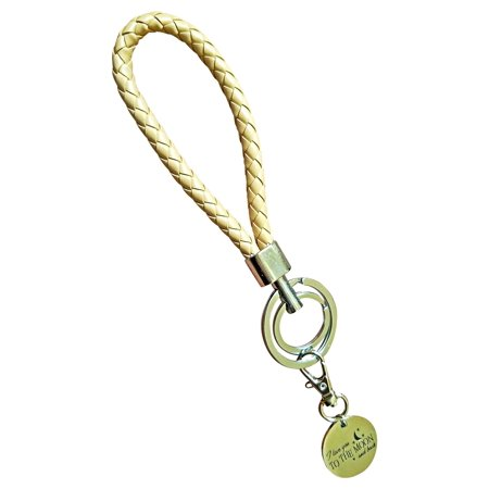Double Ring Fashion BV Braided Leather Key-Chains Handbags Charms(Beige)