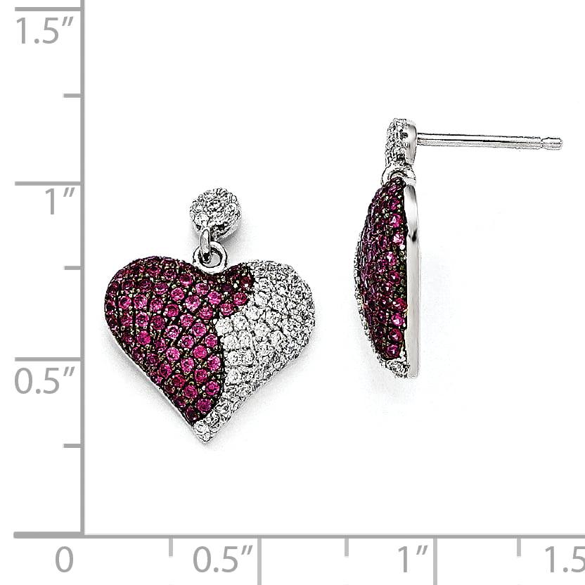 Sterling Silver & CZ Brilliant Embers Heart Dangle Post Earrings QMP729 - image 1 de 2