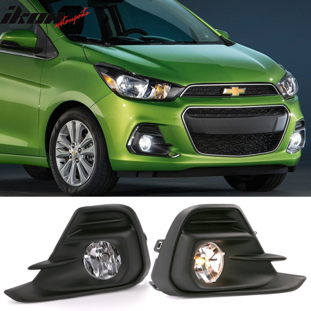 - Fits 16-18 Chevrolet Spark OE Style Foglights Kit ABS Black Housing Clear Lens
