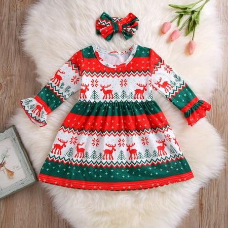 US Stock Toddler Baby Girls Snowflake Christmas Cartoon Dresses+Headband Clothes (Snowflake Headband)