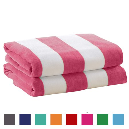 Great Bay Home 2 Pack Plush Velour 100% Cotton Beach Towels. Cabana Stripe Pool Towels for Adults. (Pink, 2 Pack- 30
