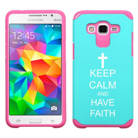For Samsung Galaxy Core Prime Shockproof Impact Hard Soft Case Cover Keep Calm And Have Faith Cross (Light Blue-Hot Pink)
