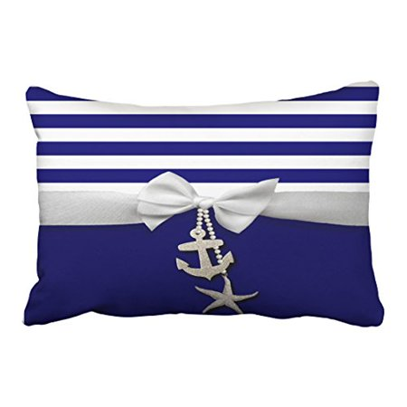 WinHome Rectangl Throw Pillow Covers Nautical Blue Stripe White Ribbon Charms Graphic Pillowcases Polyester 20 x 30 Inch With Hidden Zipper Home Sofa Cushion Decorative Pillowcase