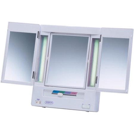Jerdon tabletop tri fold 2 sided lighted makeup mirror for Miroir walmart