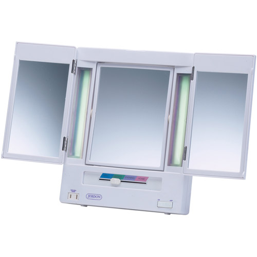 jerdon tabletop trifold 2sided lighted makeup mirror with 5x and 4