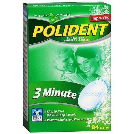polident 3 minute antibacterial denture cleanser tablets triple mint