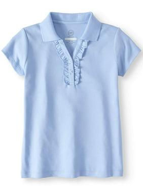 Wonder Nation Girls 4-18 School Uniform Short Sleeve Ruffle Polo