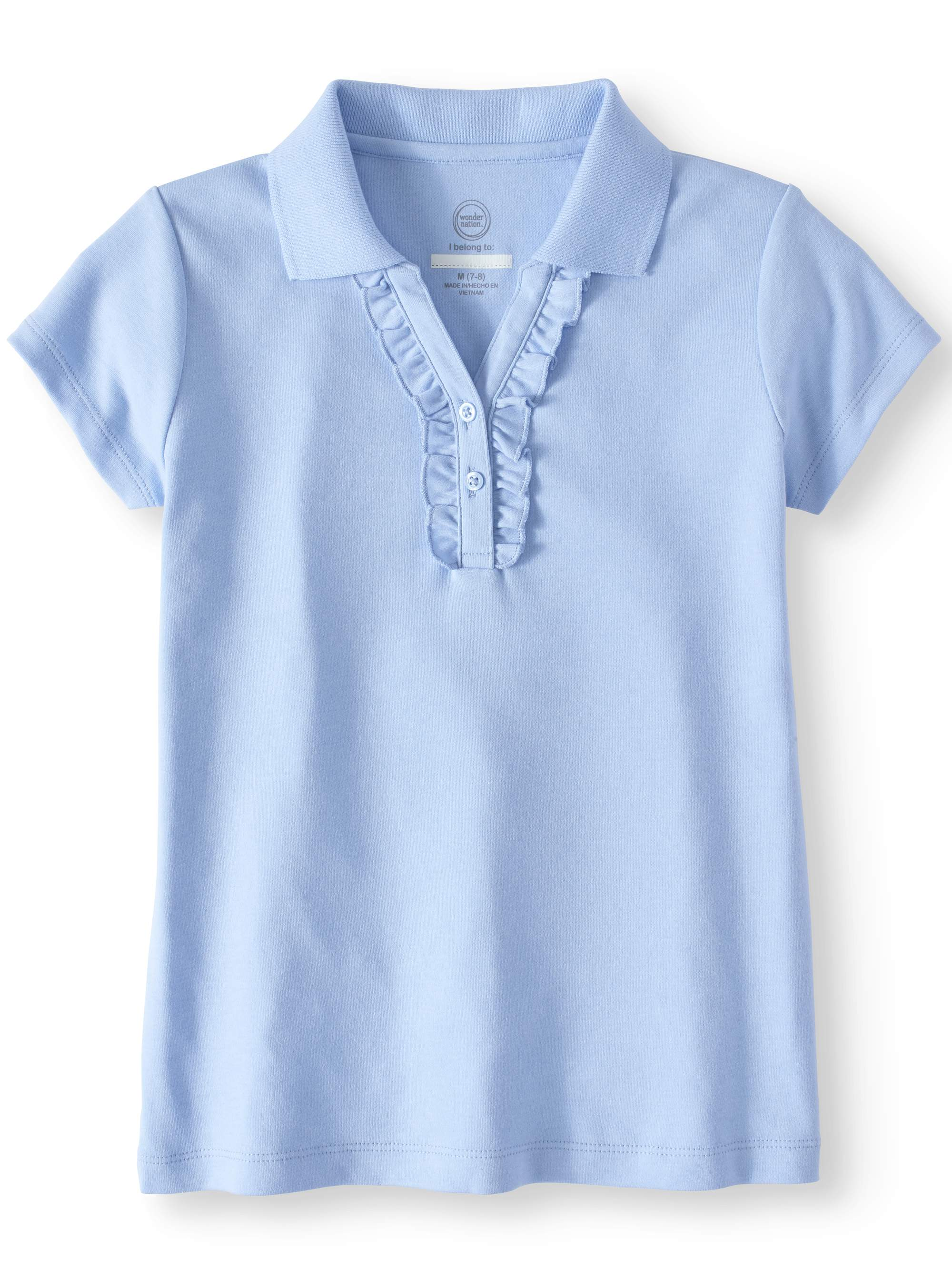 Girls School Uniform Short Sleeve Ruffle Polo