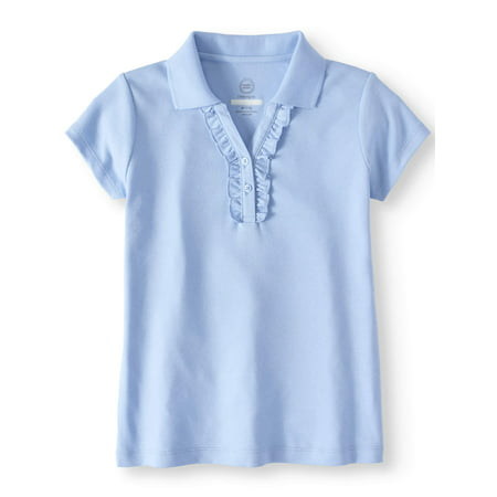 Girls School Uniform Short Sleeve Ruffle Polo (Back To School Clothes For Girls)