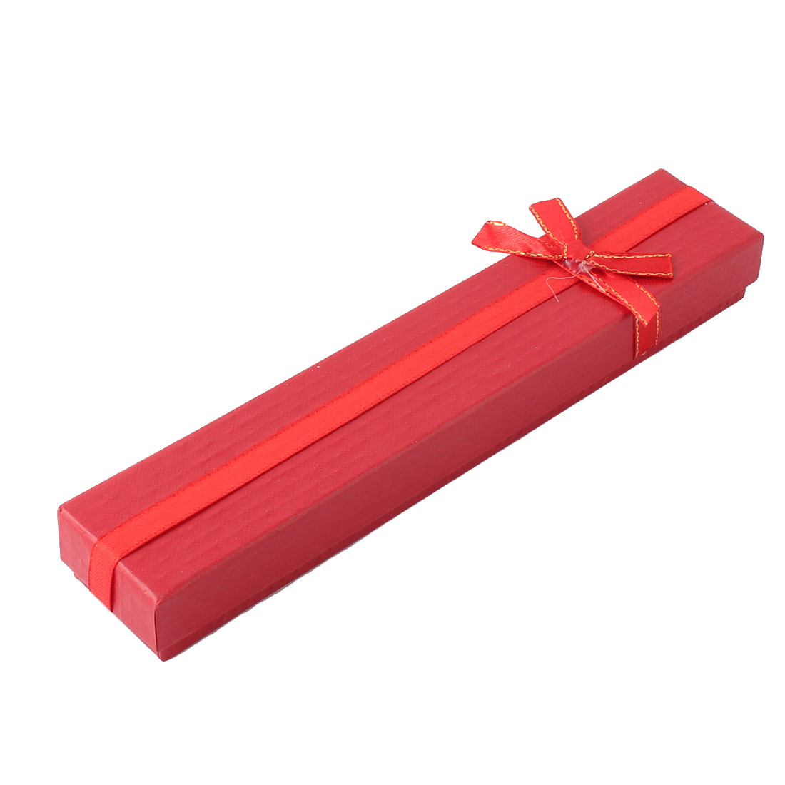 Unique Bargains Cardboard Rectangle Shape Bowknot Decor Choker Necklace Bracelet Gift Box Red