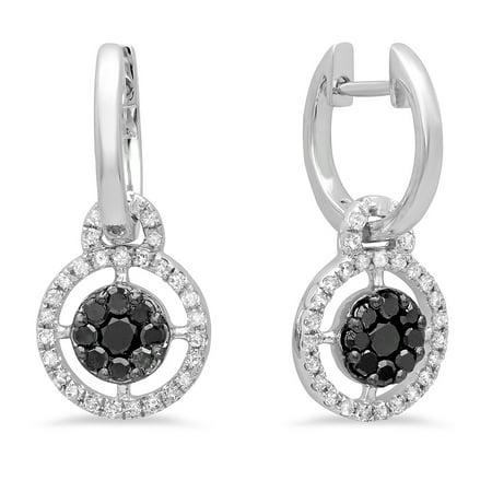 0.40 Carat (ctw) 14K White Gold Round Black & White Diamond Ladies Cluster Style Dangling Earrings