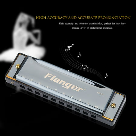 Hilitand 10 Holes Harmonica for Beginner Professionals, Key of
