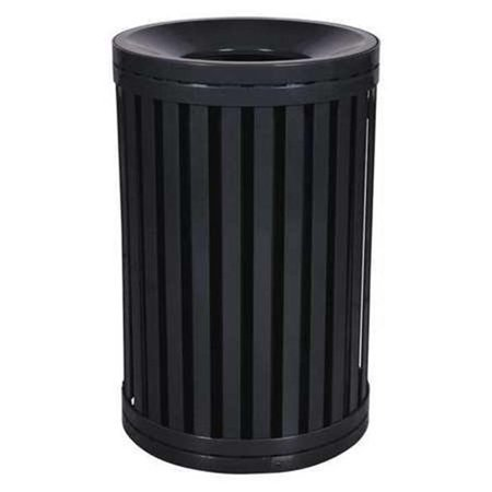 Outdoor Trash Receptacle - Ex-Cell Kaiser SCTP-40 BLK 45 Gallon Streetscape Classic Outdoor Trash Receptacle with Swing Door, Black