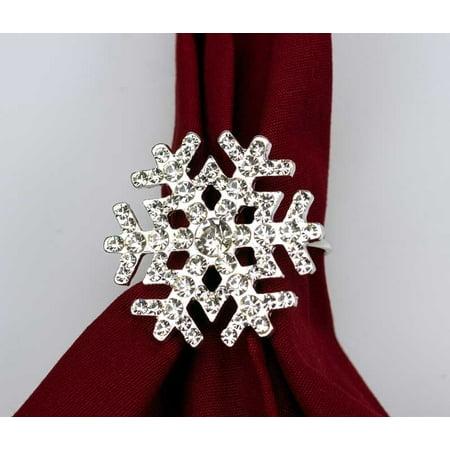Snowflake Napkin Rings (Sparkling Snowflake Napkin Rings Set of 4 Napkin)
