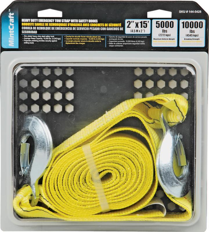 ProSource 1445428 Heavy Duty Emergency Tow Strap, 15 ft L, Zinc Plated Hook, Polyester Webbed, Yello