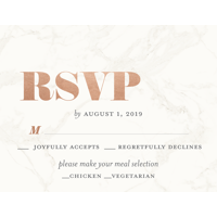 Personalized Wedding RSVP - Classic Marble - 4.25 x 5.5 Flat