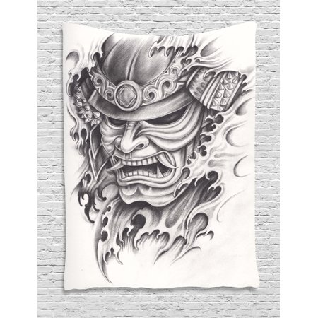 Kabuki Mask Decoration Tapestry, Warrior Samurai Drawing Angry Expression Historical Figure Artwork, Wall Hanging for Bedroom Living Room Dorm Decor, 60W X 80L Inches, Black White, by Ambesonne