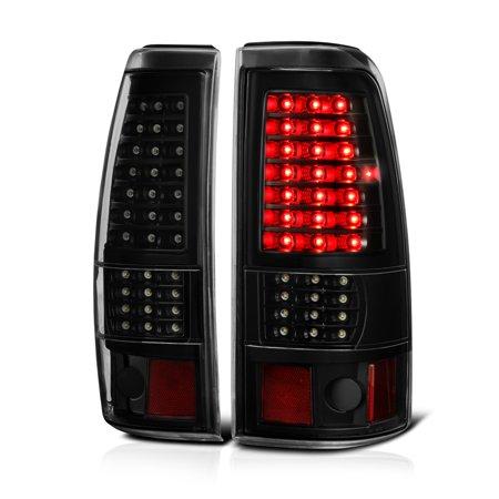 VIPMOTOZ Black Smoke Full-LED Tail Light Lamp Assembly For 1999-2002 Chevy Silverado & 1999-2006 GMC Sierra 1500 2500 3500, Driver & Passenger
