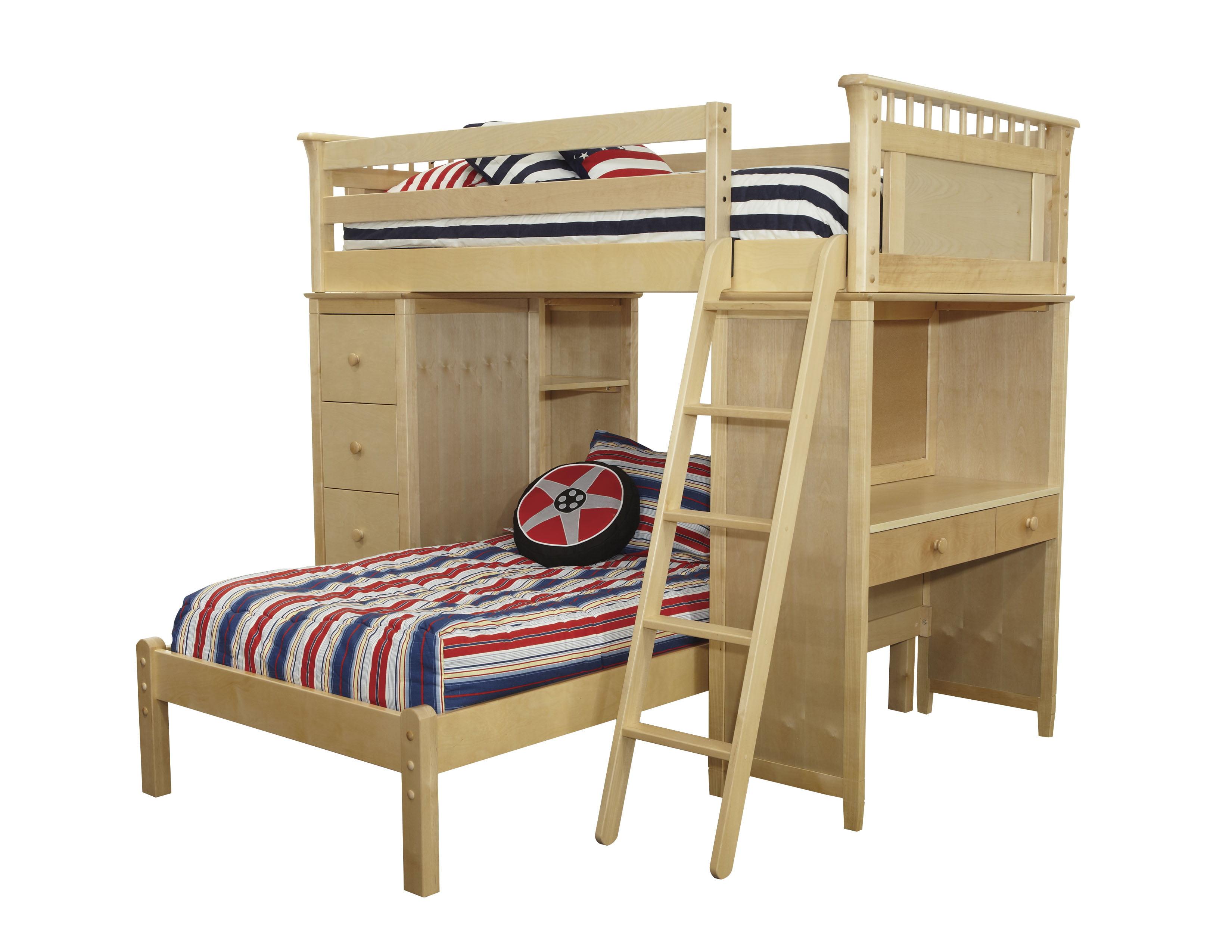 Bennington SSS Loft Bed with Desk, Bookcase, Drawers and Lower Platform Bed, Natural by Bolton Furniture