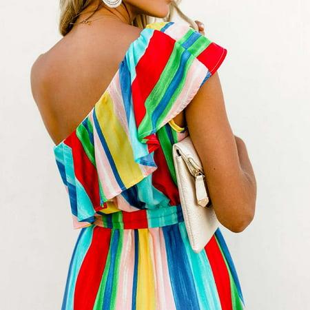 Female Casual Multicolor Stripe Print Clash neck Dress