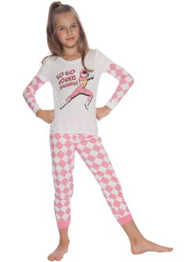 Girls Pink Power Rangers Pajamas Tight Fit Sleep Shirt and Bottom Pants Set
