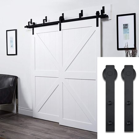 6 6FT Bypass Double Sliding Barn Door Hardware Set Rustic Black Wood Door  Track Kit
