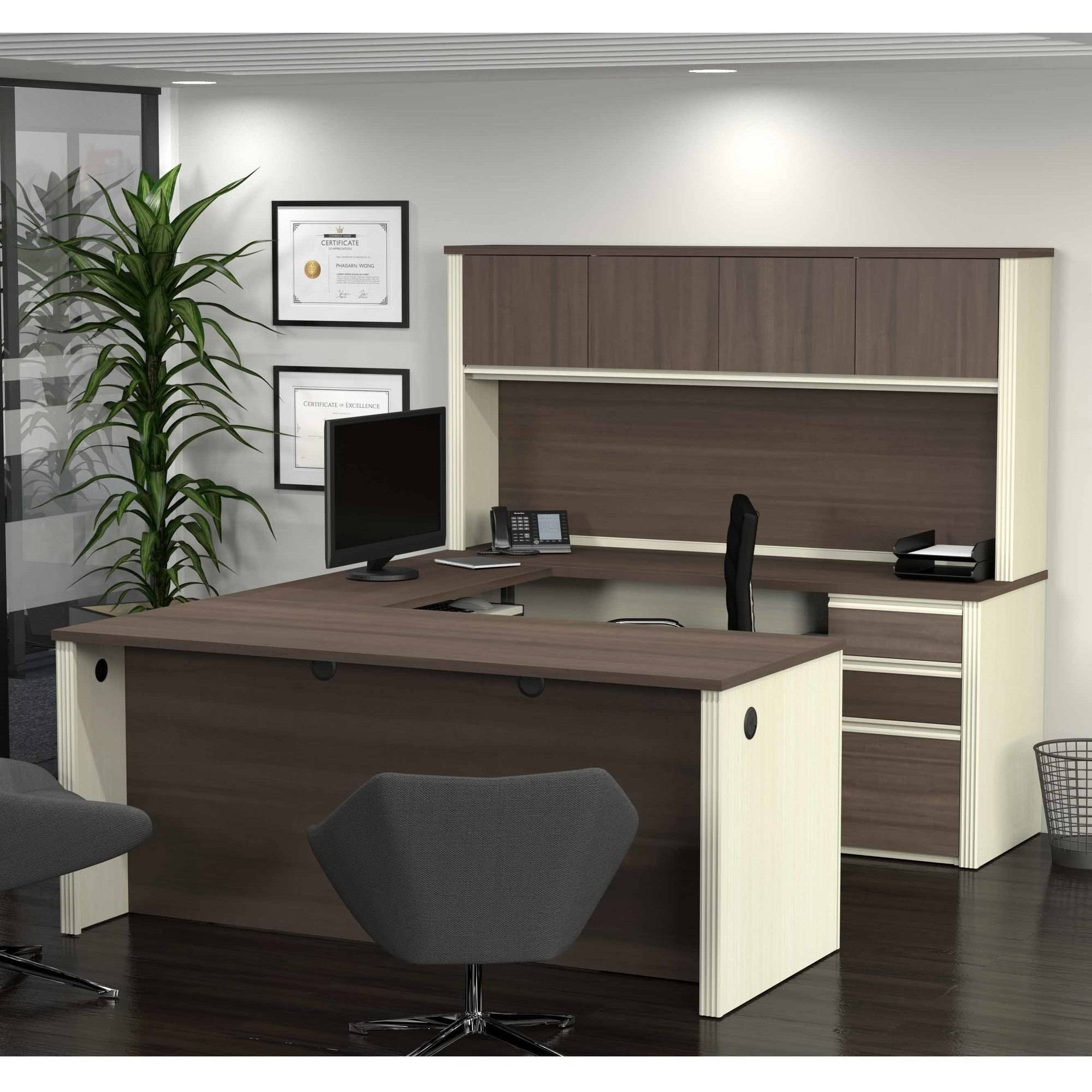 Bestar Prestige + U-Shaped Workstation with 2 Pedestals, White Chocolate and Antigua