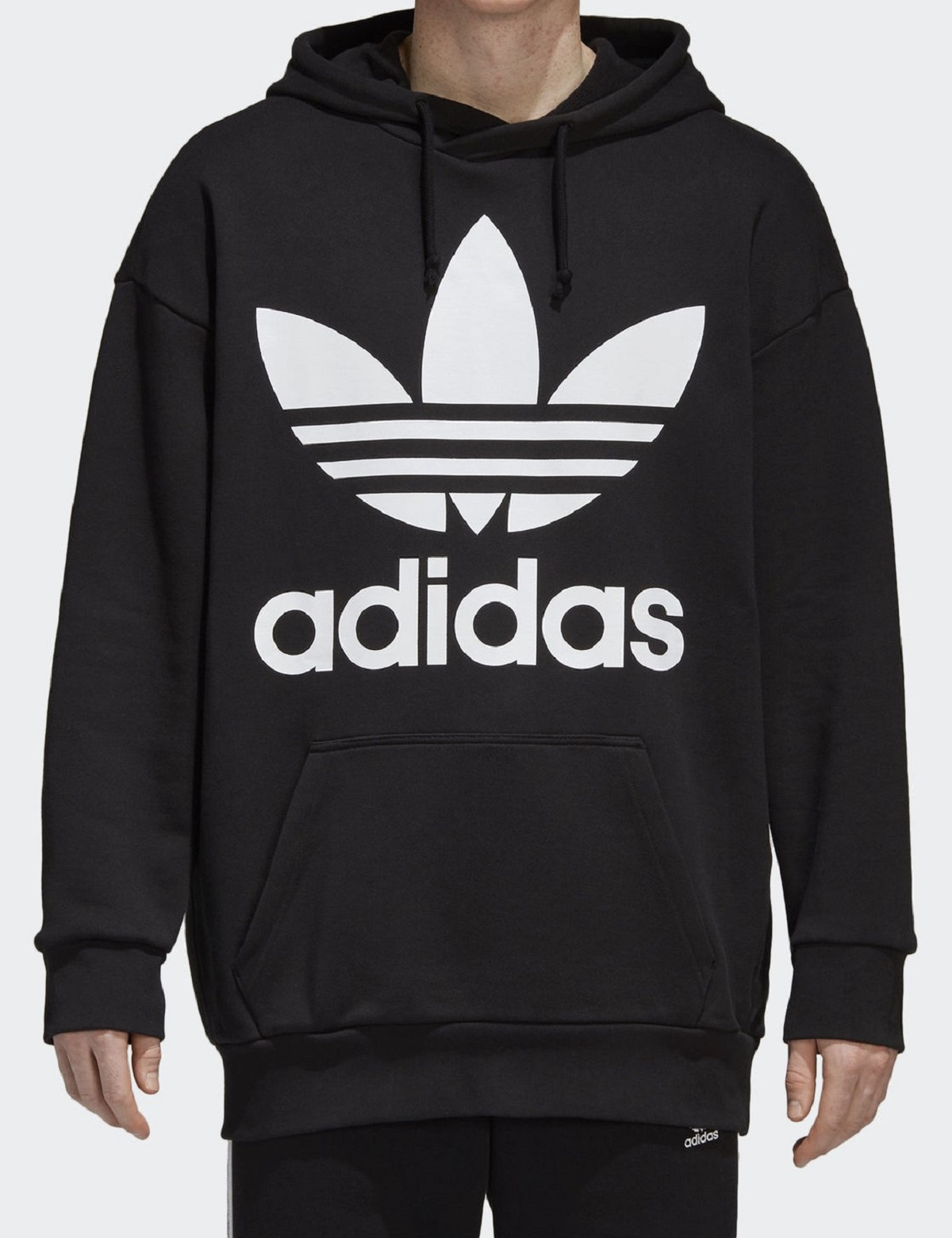 New Mens Adidas Original Mens Trefoil Fleece Hoodie Hooded Sweatshirt  Pullover Jumper Black f10a22b0f