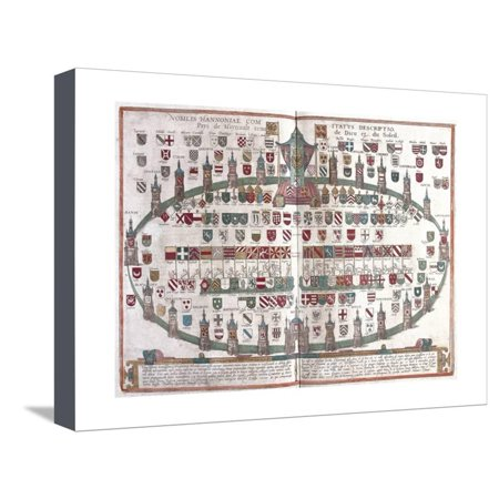 Coat Of Arms Art - Hainaut's Nobility Coat of Arms, from Civitates Orbis Terrarum Stretched Canvas Print Wall Art