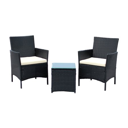3 piece compact outdoor indoor garden patio furniture set black pe rattan wicker seat white. Black Bedroom Furniture Sets. Home Design Ideas
