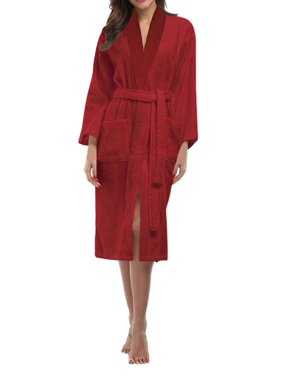 3c74e9f07a Product Image Skylinewears Women s 100% Terry Cotton Bathrobe Toweling Robe  Wine Large