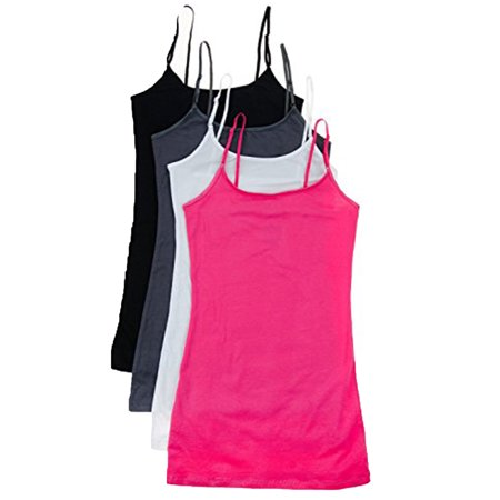 Essential Basic Women Value Pack Deal Cami Tanks Adjustable Spagetti Strap Many Colors - Small to 3XL](Top Deals)
