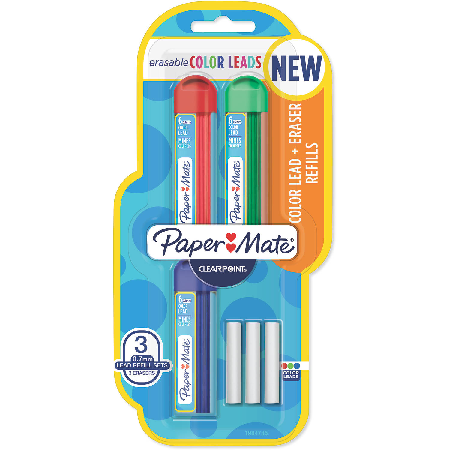 Paper Mate Clearpoint Color Lead and Eraser Mechanical Pencil Refills, Medium Point 0.7mm, Assorted Colors, 6-Count