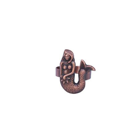 Antique Copper Mermaid Napkin Ring 2
