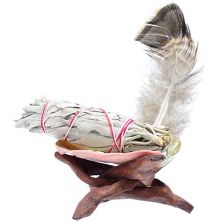 "New Age Smudge Kit White Sage Comes With Small Cobra Stand Abalone Shell Feather and 3"" Stick Create Your Sacred Space Cleansing Purification Consecration Incense Of The Ancients"