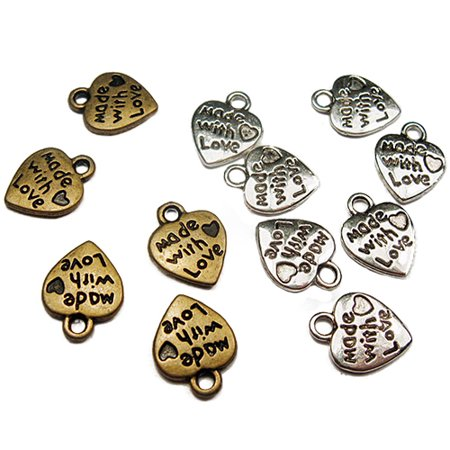 Besufy 50Pcs Silver/Gold Plated Handmade Tools with Love Heart Shaped DIY Charms