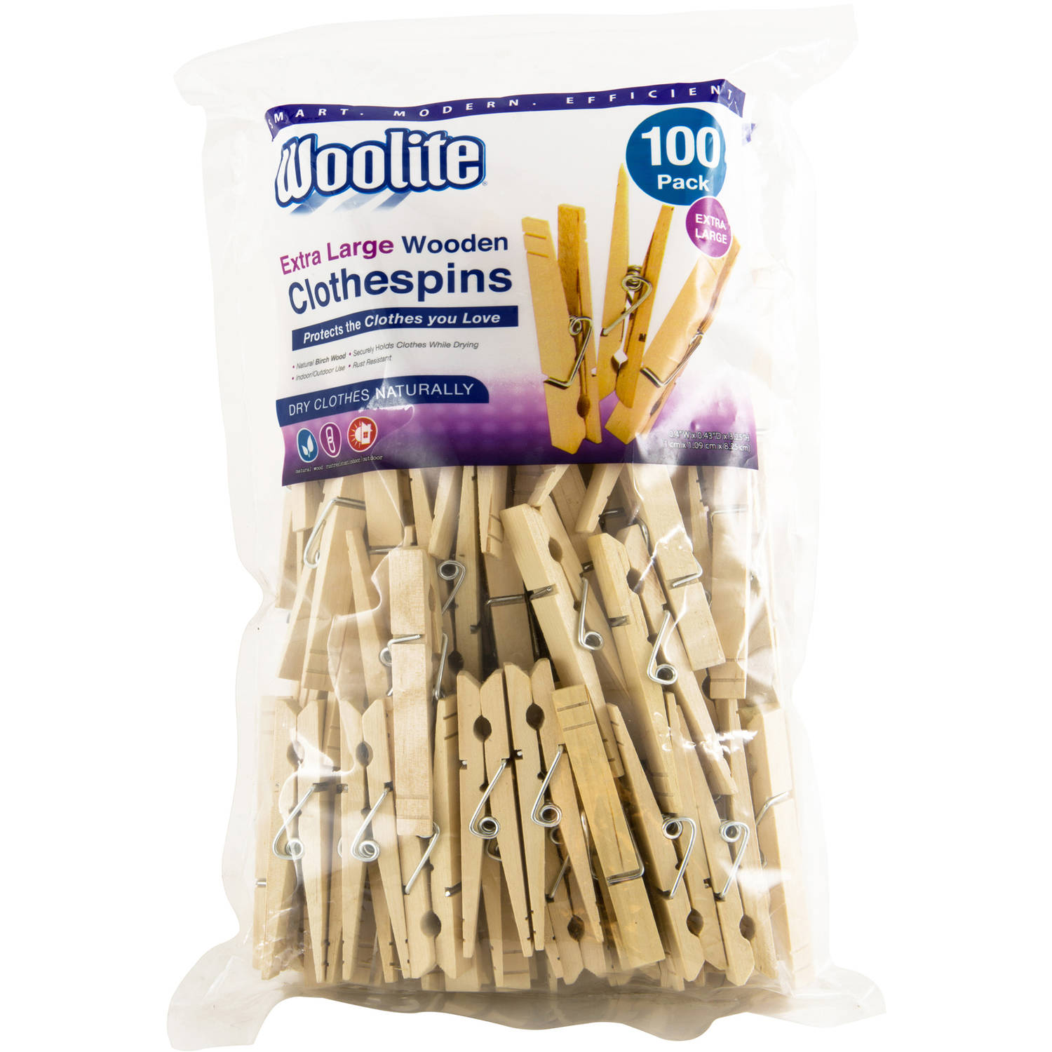 Woolite Extra Large Wooden Clothespins (Pack Of 100)
