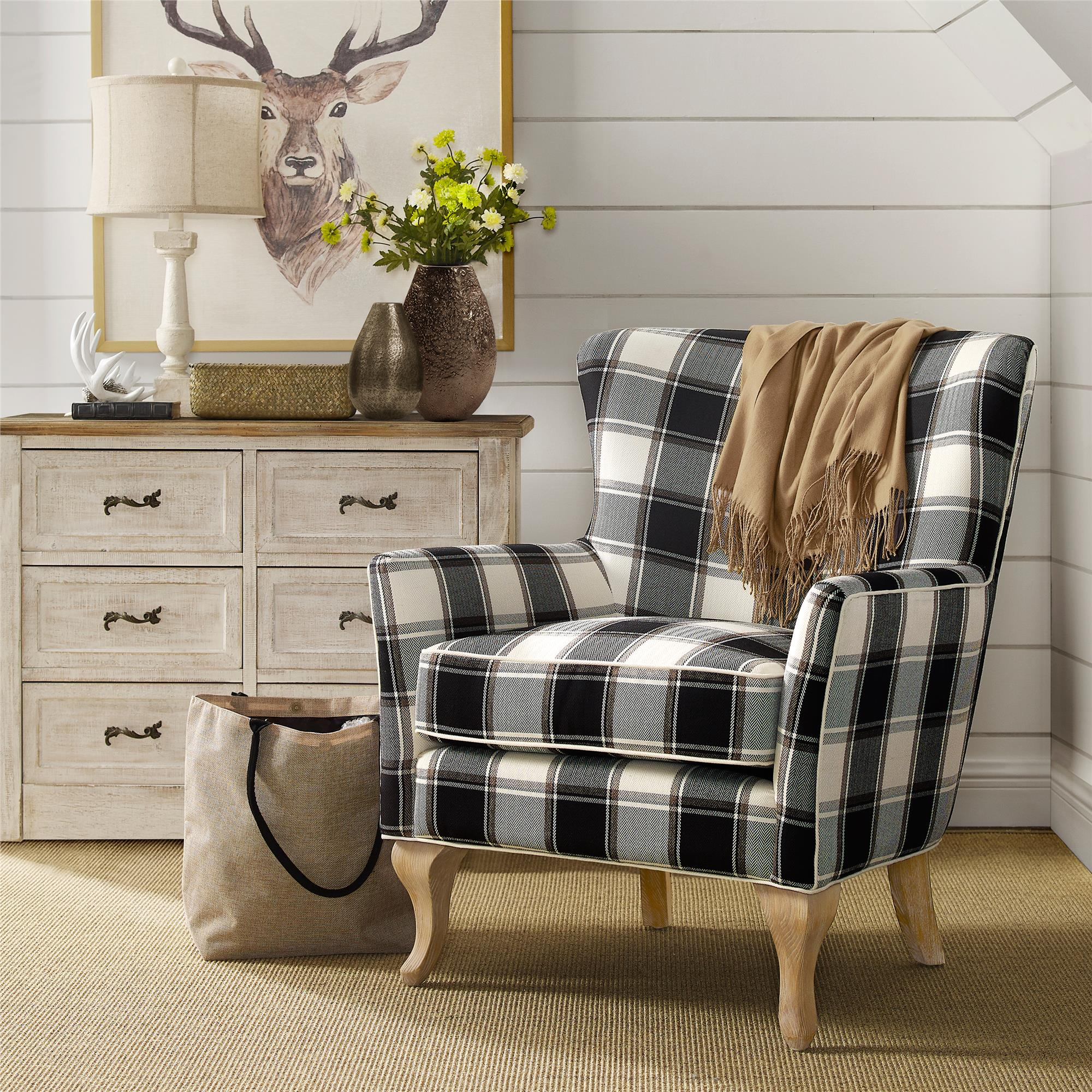Product Image Dorel Living Middlebury Checkered Pattern Accent Chair, Black  U0026 White Checkered
