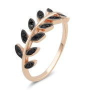 Beverly Hills Silver Rose Goldplated Sterling Silver Black Cubic Zirconia Olive Branch Ring