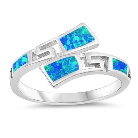 Blue Simulated Opal Greek Key Knuckle Tropical Ring Sterling Silver Band Size 7