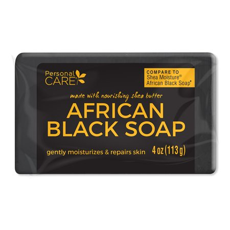 Personal Care African Black Soap. Anti Acne. Clarifies Facial Oil and Blemishes while Moisturizing and Repairing Skin. 4 Oz / 113 g