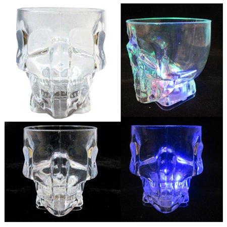 4 pcs Plastic Skull Shot Glasses Color Flashing LED Light Up Drink Party Supply (Light Up Plastic)
